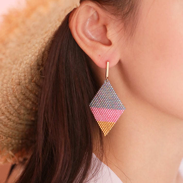 Beaded Lozenge Earrings