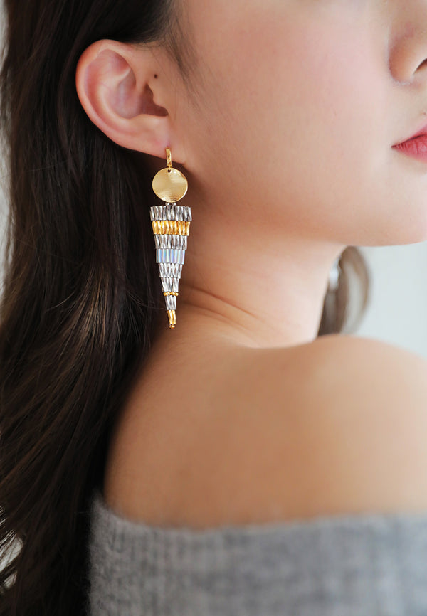 Sparkling Inverted Triangle Earrings