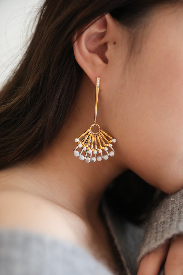 Layered Fan Drop Earrings
