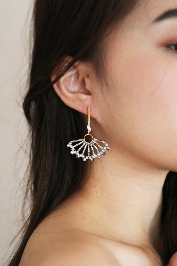 Beaded Fan-Drop Earrings