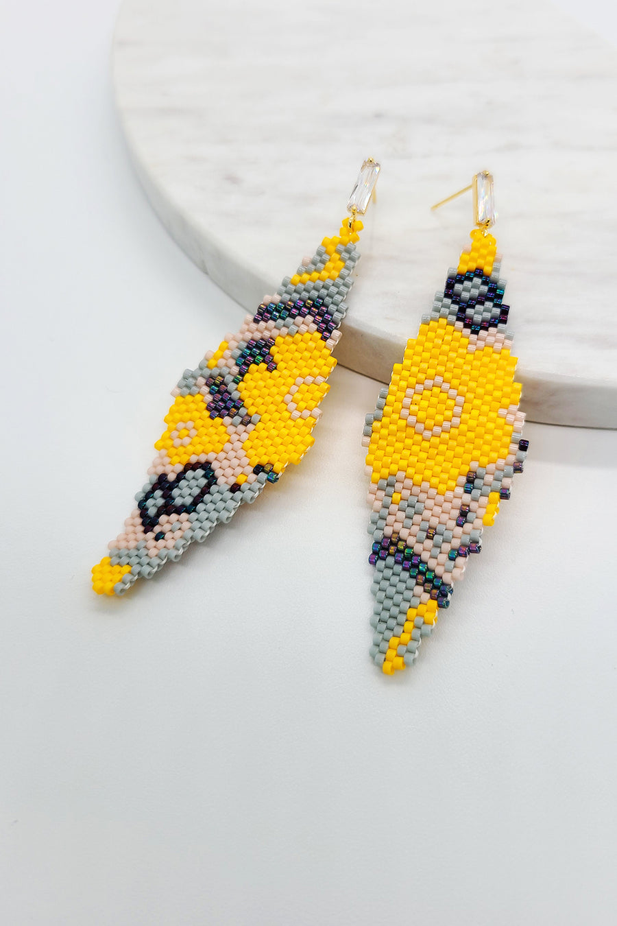 Beadwoven Art Earrings - Bright Flowers