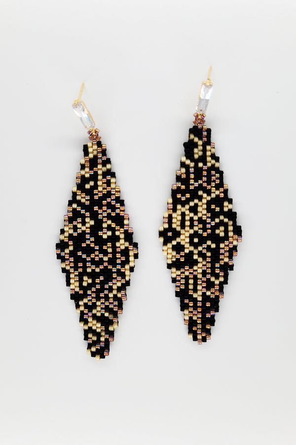 Beadwoven Art Earrings - Leopard Print