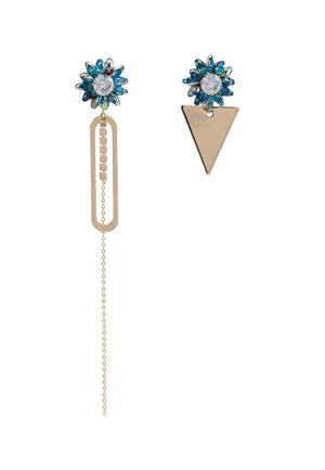 Flower Stud With Mismatched Dangle Front-Back Earrings
