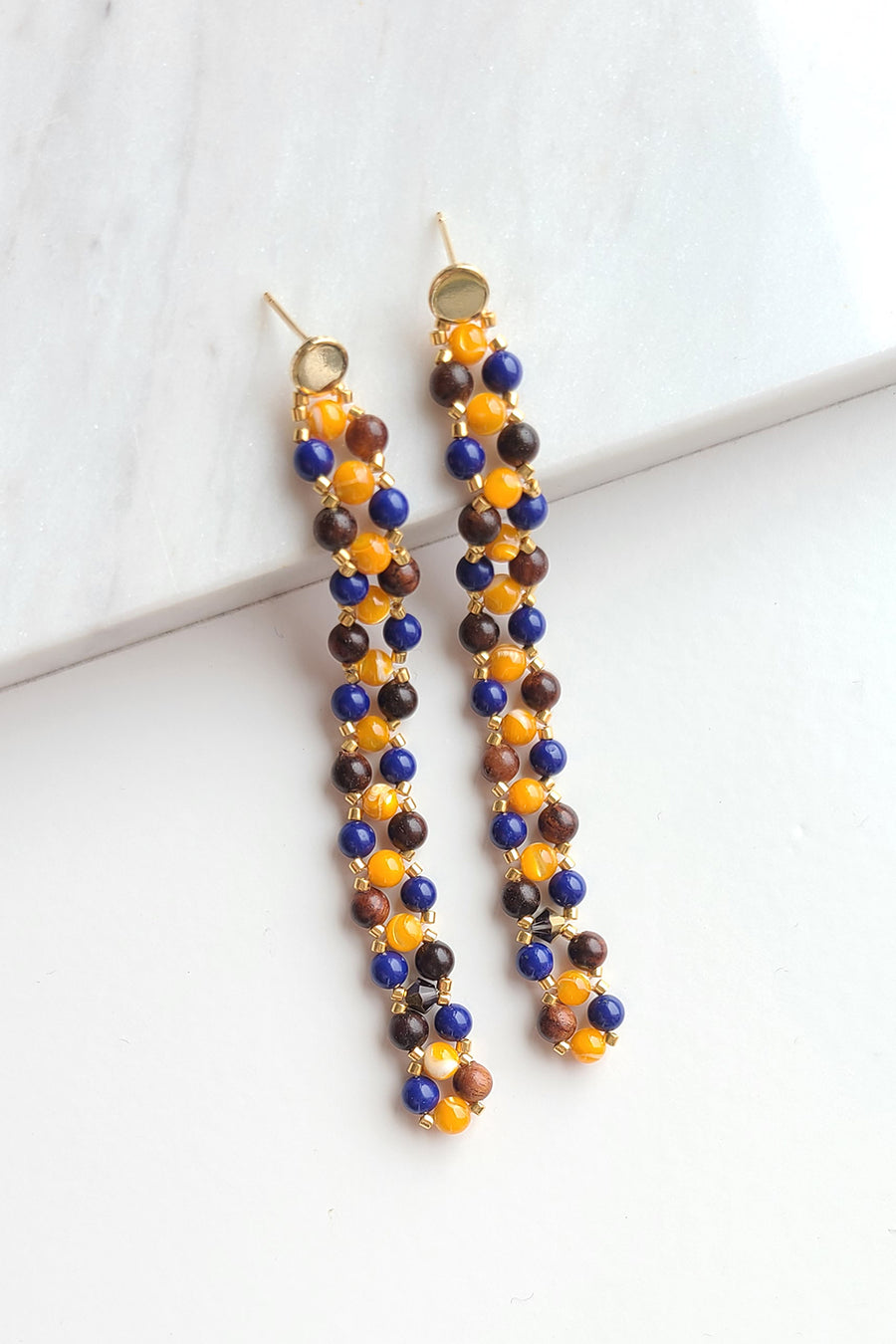 Beaded Long Drop Earrings