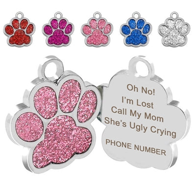 Personalized Paw Print Pet Tag Engraved - I'm Lost
