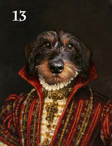 Renaissance historical F-13 female pet portrait