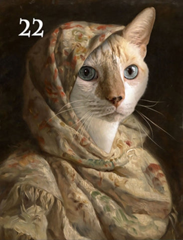 Renaissance historical F-22 female pet portrait