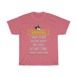 Talking about my cats - Unisex Heavy Cotton Tee - Fulfilled in Australia