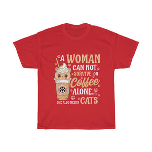 A woman needs coffee and cats - Unisex Heavy Cotton Tee - AU