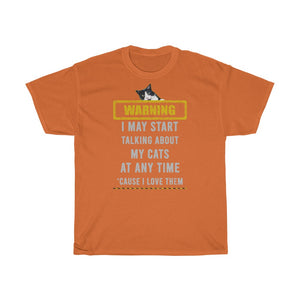Talking about my cats - Unisex Heavy Cotton Tee - Fulfilled in Czech Republic