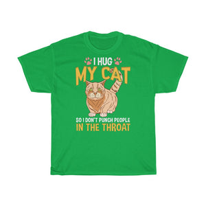 I hug my cat – Unisex Heavy Cotton Tee - CZ