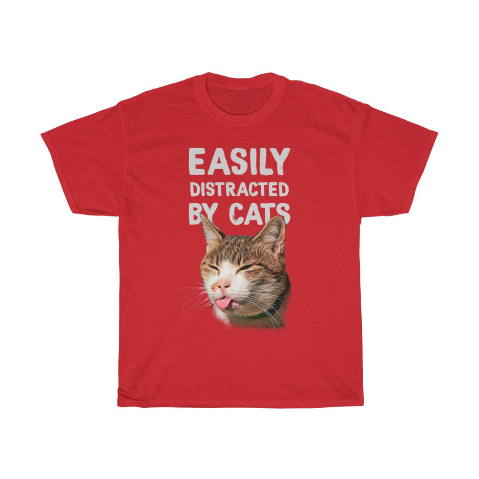 Easily distracted by cats - Unisex Heavy Cotton Tee - Fulfilled in United Kingdom