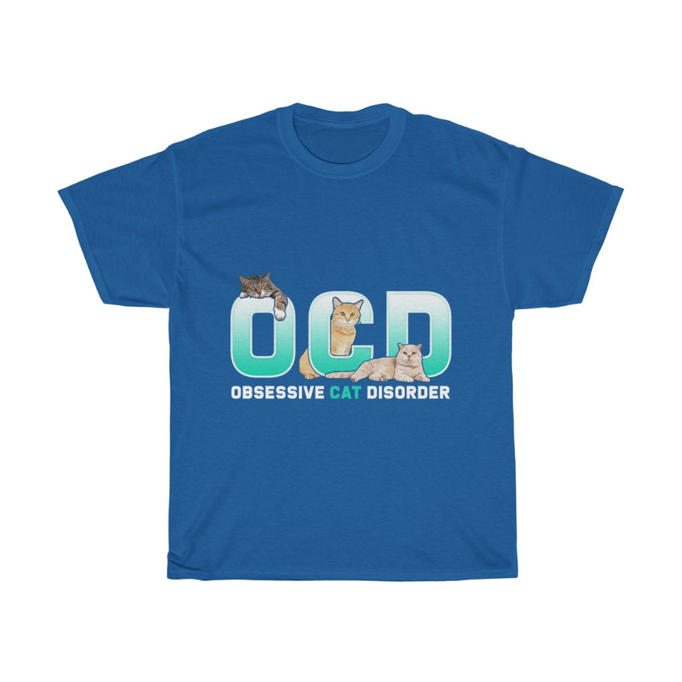 OCD Cat v2 - Unisex Heavy Cotton Tee - Fulfilled in United Kingdom