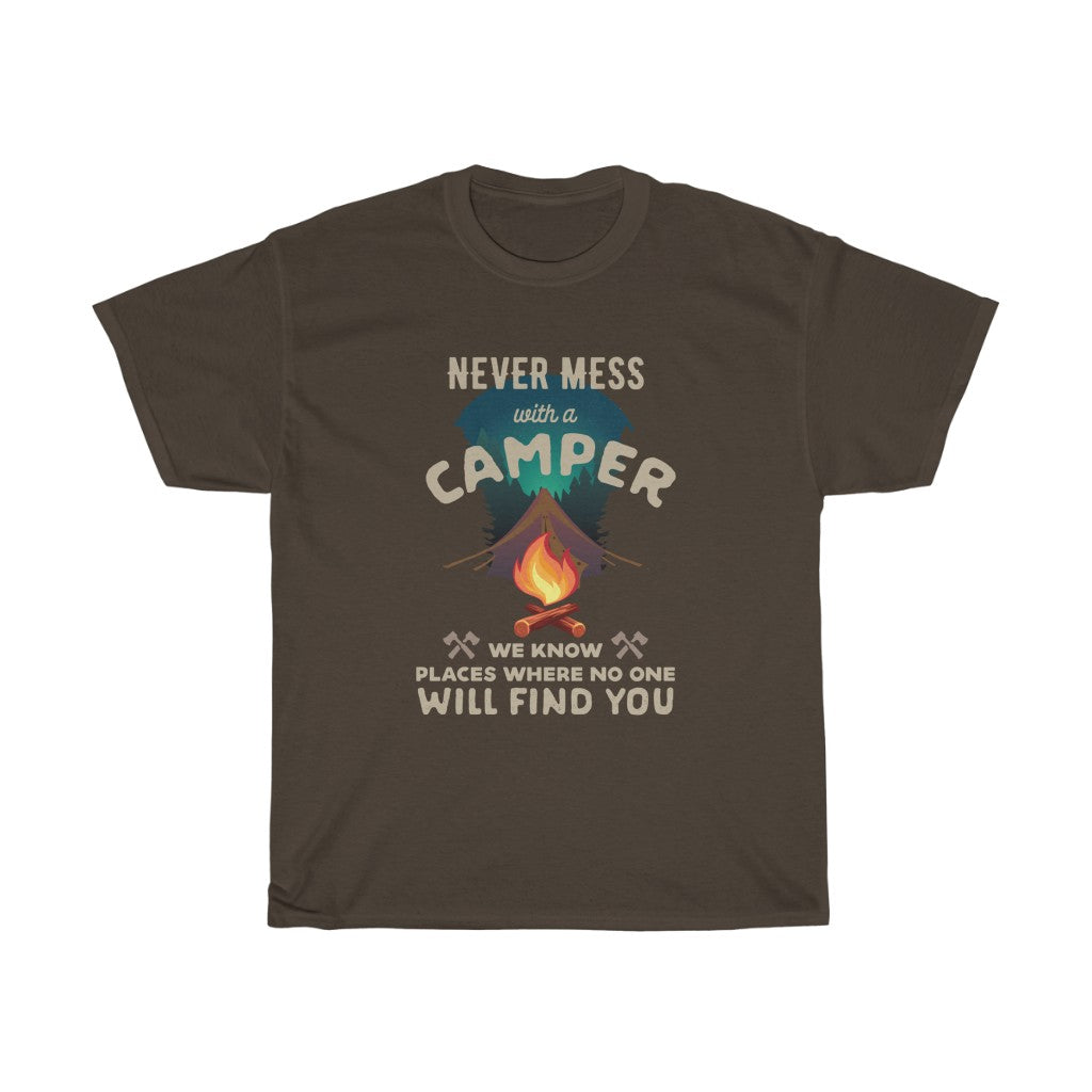Never mess with a Camper - Unisex Heavy Cotton Tee - Fulfilled in United Kingdom