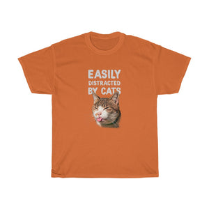 Easily distracted by cats - Unisex Heavy Cotton Tee - Fulfilled in Canada