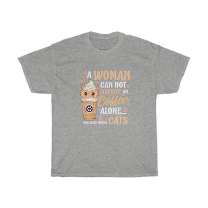 A woman needs coffee and cats - Unisex Heavy Cotton Tee - CA
