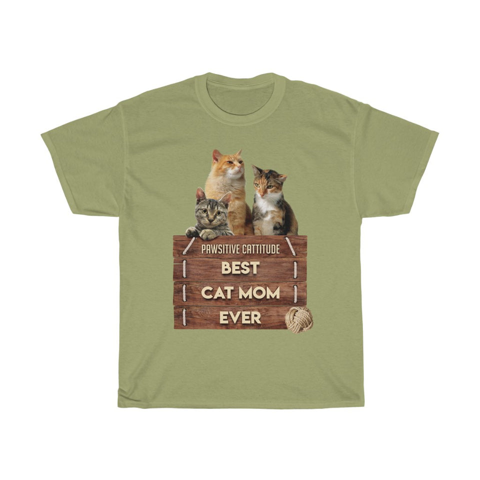 Best Cat Mom Ever - Unisex Heavy Cotton Tee - Fulfilled in Germany