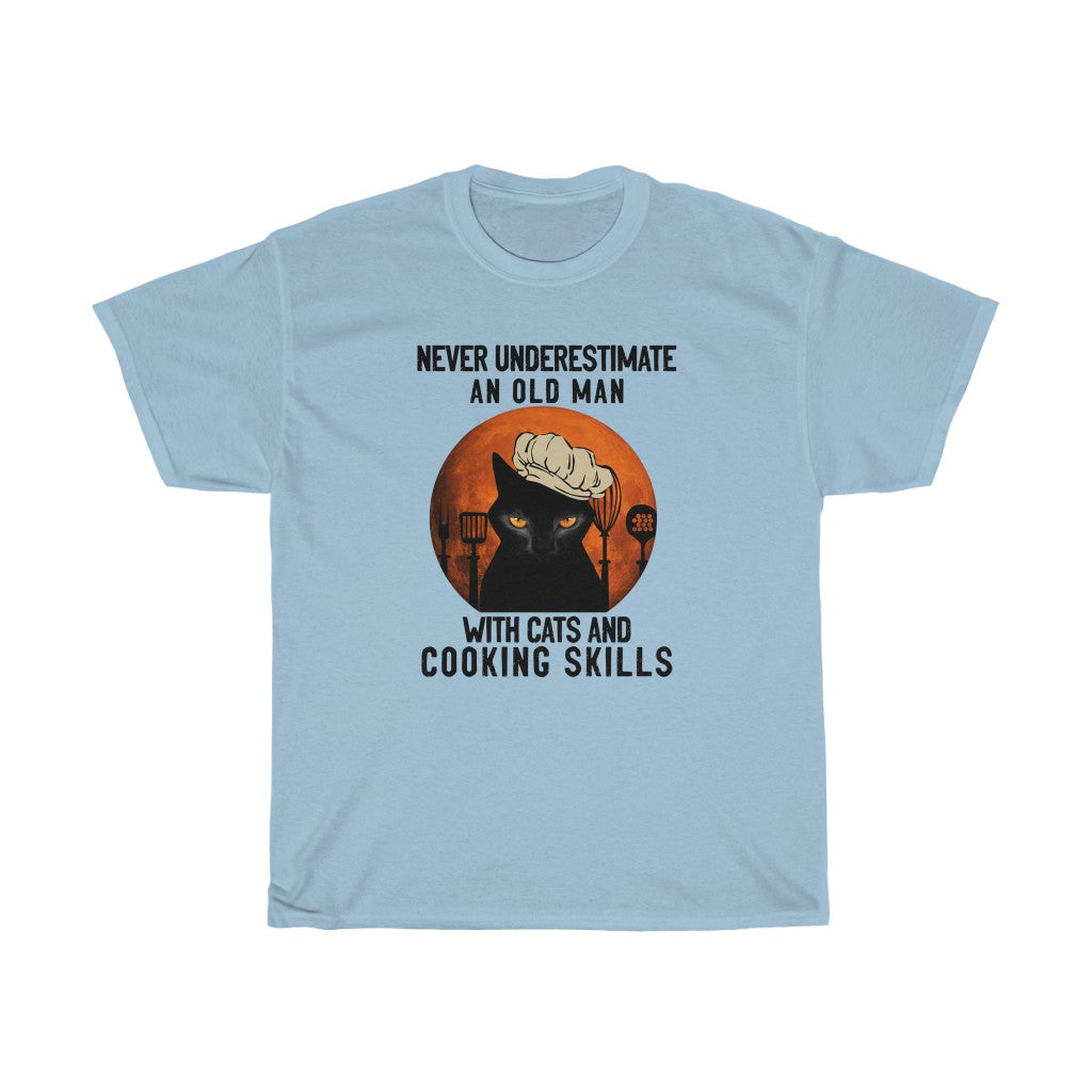 Old man with cats and cooking skills - Unisex Heavy Cotton Tee - Fulfilled in Canada