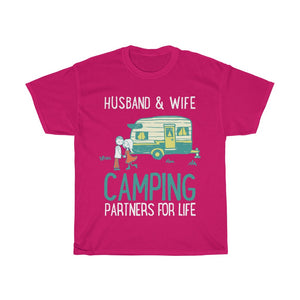 Husband & wife camping partners for life - Unisex Heavy Cotton Tee - Fulfilled in Australia