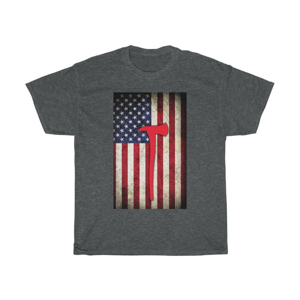 Firefighter US flag - Unisex Heavy Cotton Tee - Fulfilled in the United States