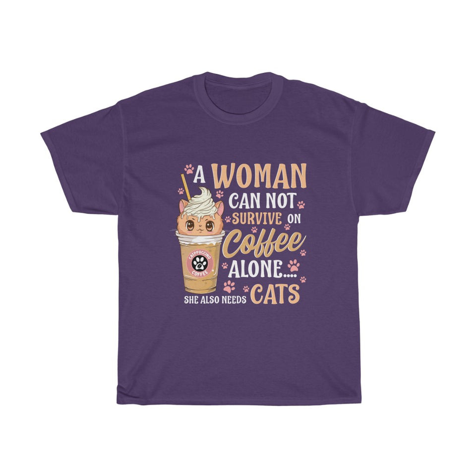 A woman needs coffee and cats - Unisex Heavy Cotton Tee - US