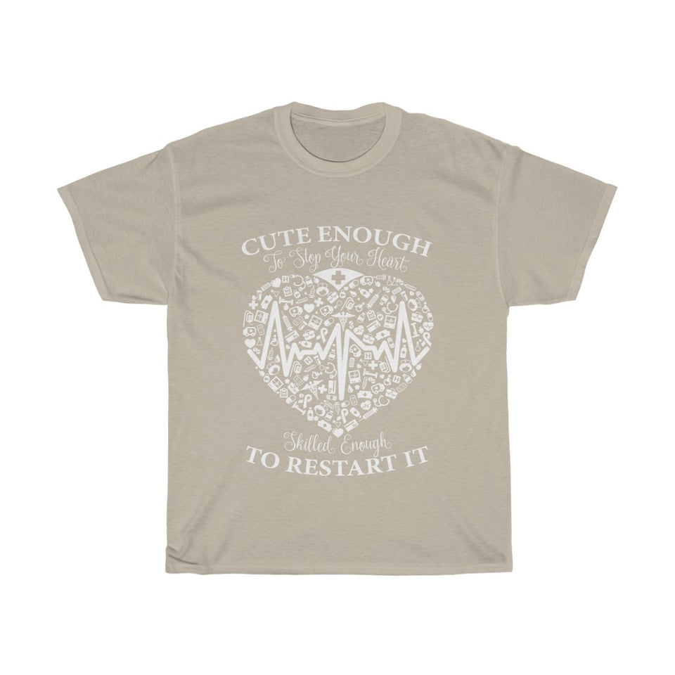 Cute enough to stop your heart - Unisex Heavy Cotton Tee - Fulfilled in Australia