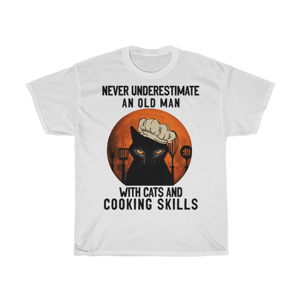Old man with cats and cooking skills - Unisex Heavy Cotton Tee - Fulfilled in United Kingdom