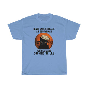 Old woman with cats and cooking skills - Unisex Heavy Cotton Tee - Fulfilled in Canada