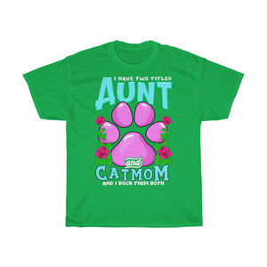 Aunt & Cat mom - Unisex Heavy Cotton Tee - UK