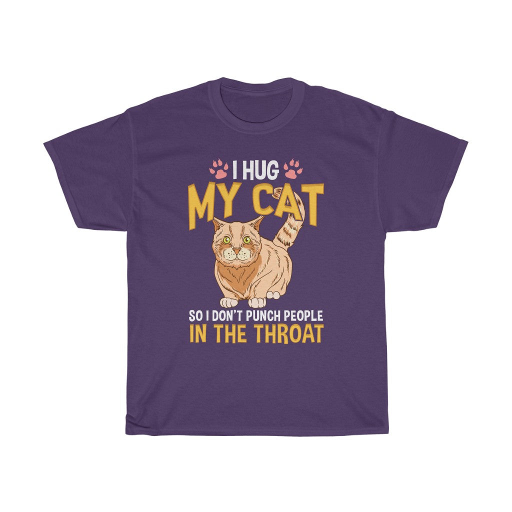 I hug my cat – Unisex Heavy Cotton Tee - US