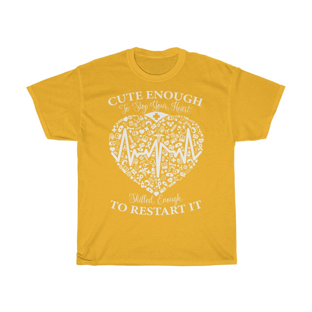 Cute enough to stop your heart - Unisex Heavy Cotton Tee - Fulfilled in United Kingdom