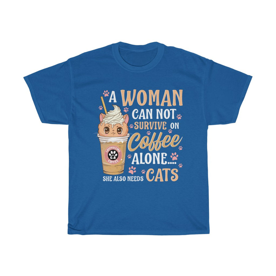 A woman needs coffee and cats - Unisex Heavy Cotton Tee - UK