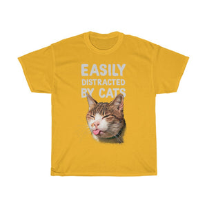 Easily distracted by cats - Unisex Heavy Cotton Tee - Fulfilled in Germany
