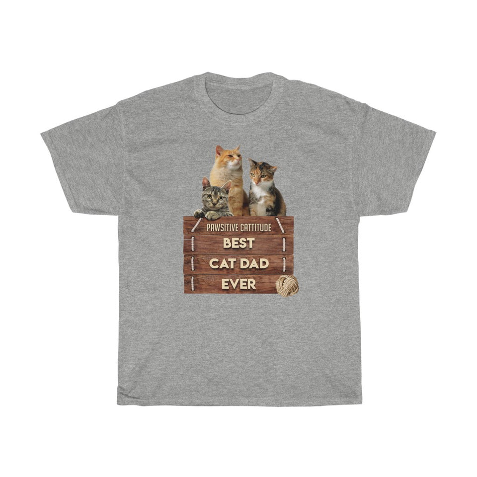 Best Cat Dad Ever - Unisex Heavy Cotton Tee - Fulfilled in Czech Republic