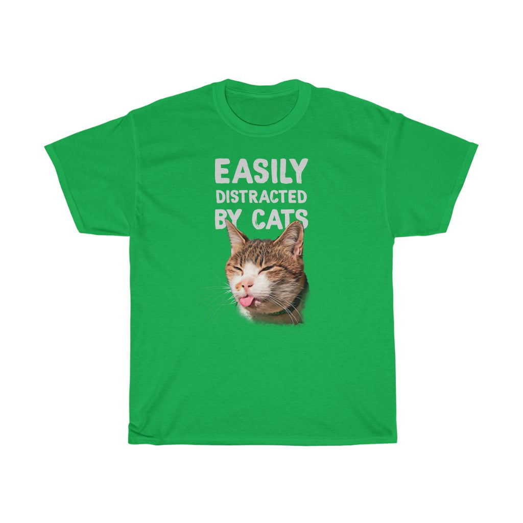 Easily distracted by cats - Unisex Heavy Cotton Tee - Fulfilled in Czech Republic