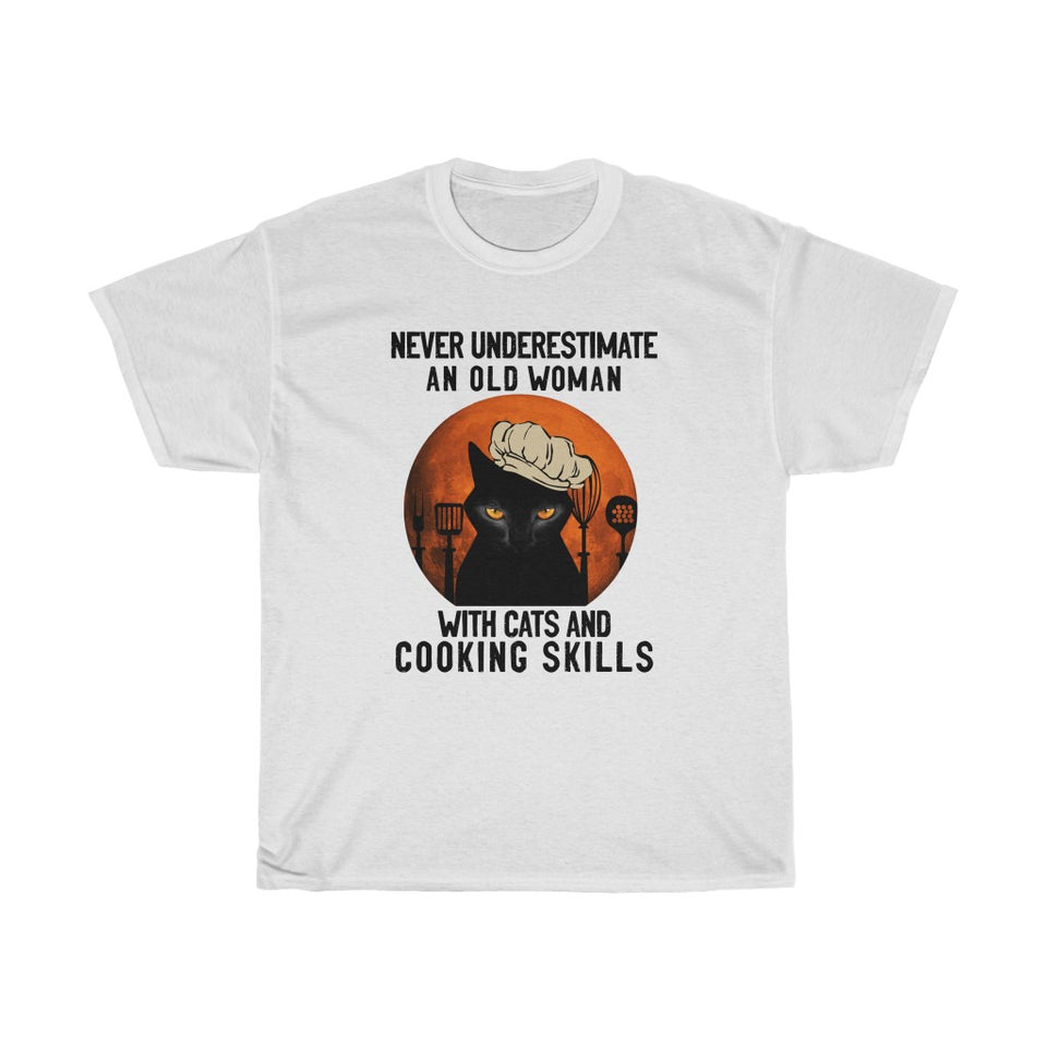 Old woman with cats and cooking skills - Unisex Heavy Cotton Tee - Fulfilled in the United States
