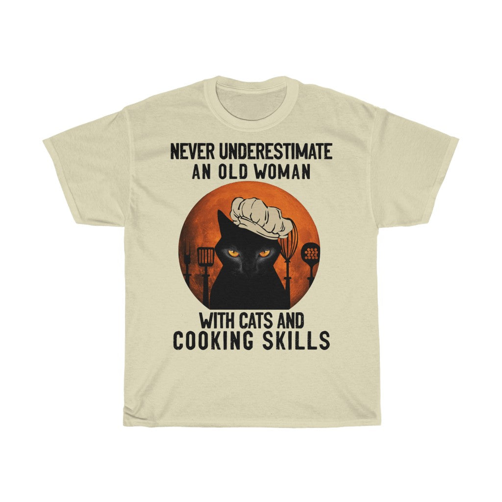 Old woman with cats and cooking skills - Unisex Heavy Cotton Tee - Fulfilled in United Kingdom