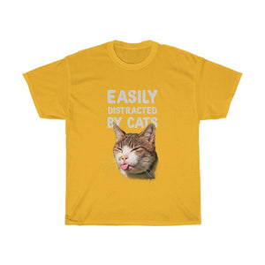 Easily distracted by cats - Unisex Heavy Cotton Tee - Fulfilled in the United States