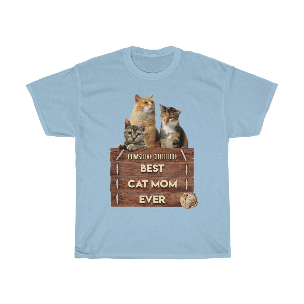 Best Cat Mom Ever - Unisex Heavy Cotton Tee - Fulfilled in United Kingdom