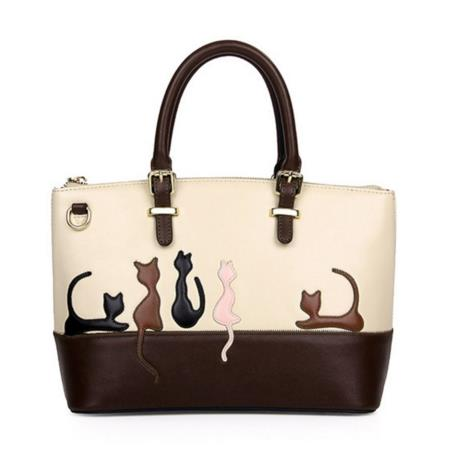 Cute Cat Pattern Leather Handbag