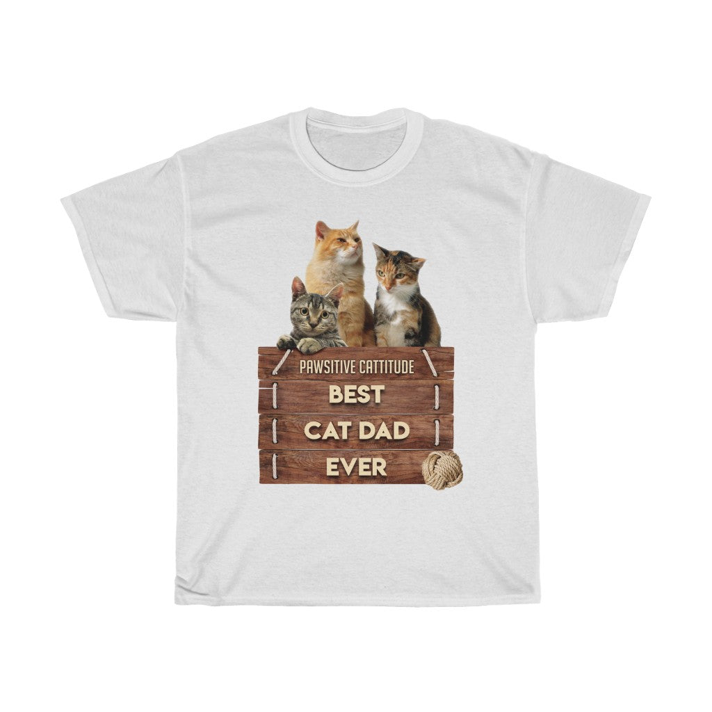 Best Cat Dad Ever - Unisex Heavy Cotton Tee - Fulfilled in United Kingdom
