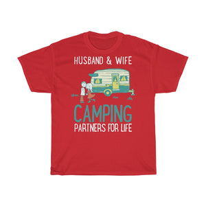 Husband & wife camping partners for life - Unisex Heavy Cotton Tee - Fulfilled in Czech Republic