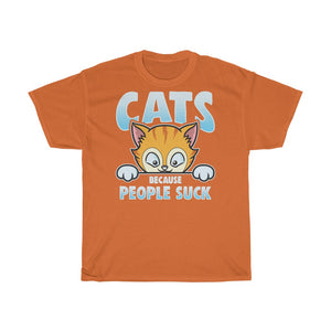 Cats because people suck - Unisex Heavy Cotton Tee - CZ