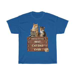 Best Cat Dad Ever - Unisex Heavy Cotton Tee - Fulfilled in Germany