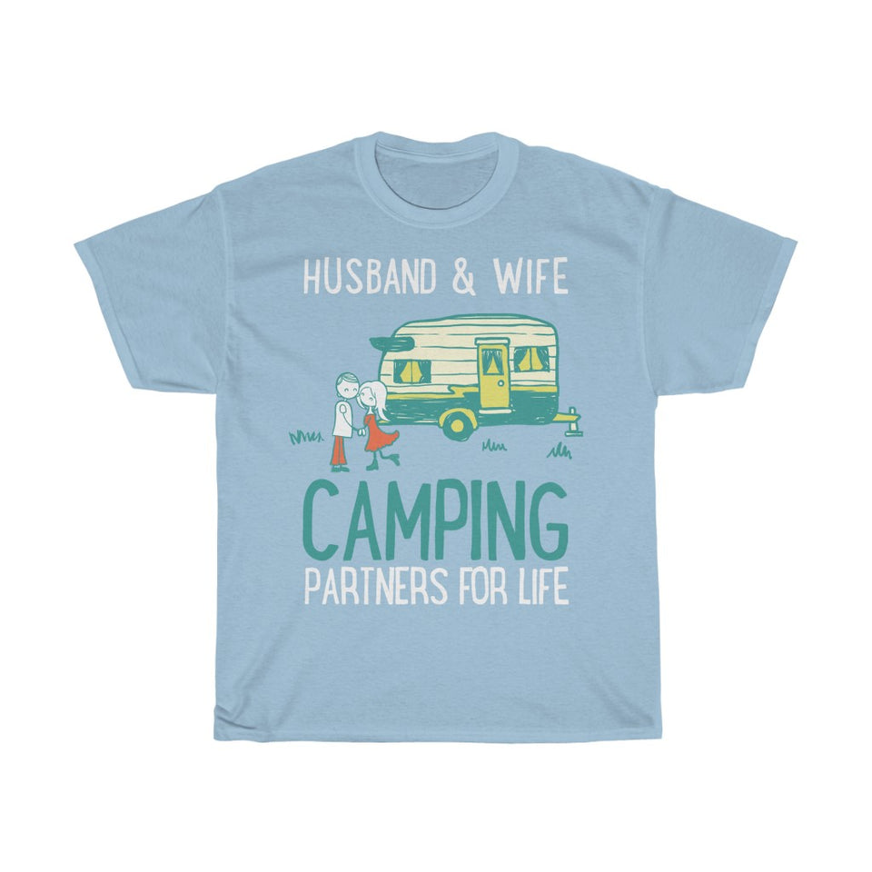 Husband & wife camping partners for life - Unisex Heavy Cotton Tee - Fulfilled in Germany