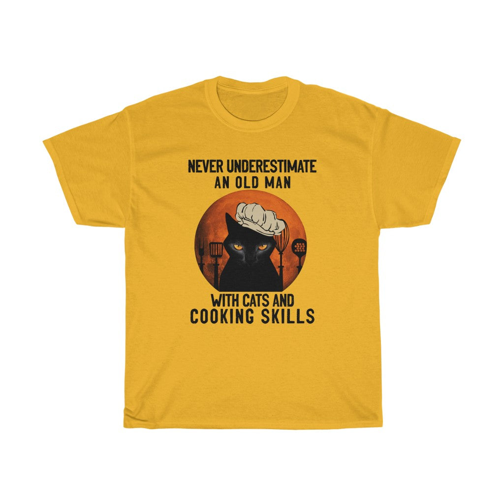 Old man with cats and cooking skills - Unisex Heavy Cotton Tee - Fulfilled in the United States