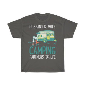 Husband & wife camping partners for life - Unisex Heavy Cotton Tee - Fulfilled in United Kingdom