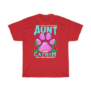 Aunt & Cat mom - Unisex Heavy Cotton Tee - CZ