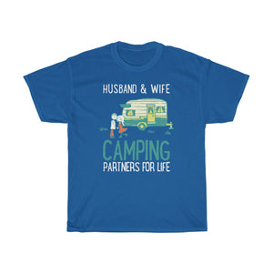Husband & wife camping partners for life - Unisex Heavy Cotton Tee - Fulfilled in Canada