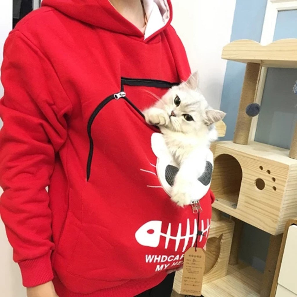 Cat Carrier Hoodie (we recommend buying 1-2 size up, for an extra-loose fit)
